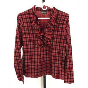Lauren Jeans Co. Ruffled Red Plaid Shirt